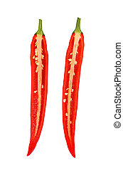 Red hot chili peppers isolated on white background