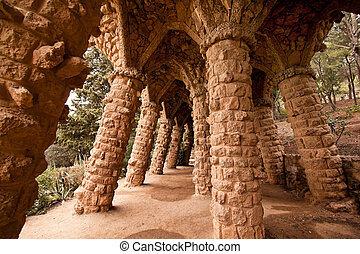 Parc Guell by Gaudi in Barcelona, Catalonia - Parc Guell by...