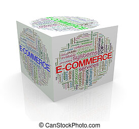 3d cube word tags wordcloud of e-commerce