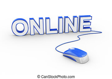 3d mouse attached to word text online - 3d rendering of...