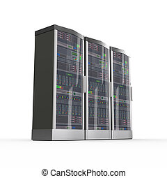 3d set of computer network servers - 3d rendering of...