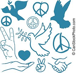 Collection of peace and love themed icons with white doves...