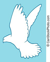 White dove of peace - Drawing of a beautiful graceful white...