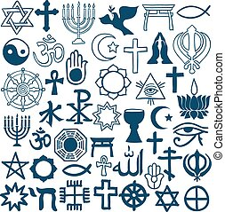 Graphic symbols of different religions on white - Blue...