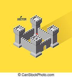 Castle. Medieval fort with defense towers. 3D vector...