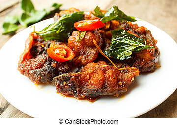 Phad Phed Pla Duk Thod Krob Stir fried Deep fried Catfish...