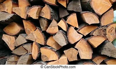 stack of firewood - dry chopped firewood in a pile camera...