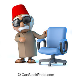 3D, marocain, à, une, vide, bureau, chaise,