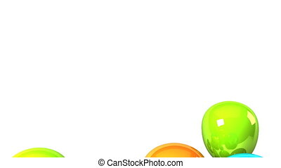 Colorful Balloons On White Background 3D render Animation