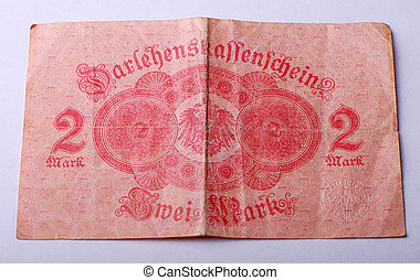 Old German banknote from 1914 - Picture of an Old German...