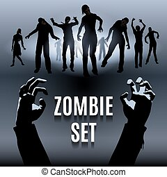 Zombie set - Set of zombie male and female black silhouette...