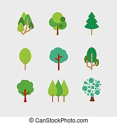 Set Of Different Trees.