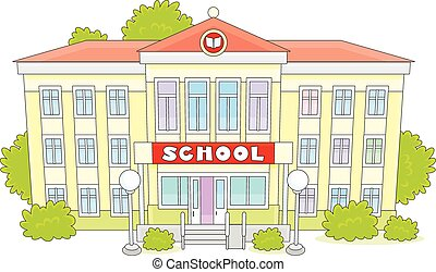 Clipart Vector of A school building - illustration of a school ...