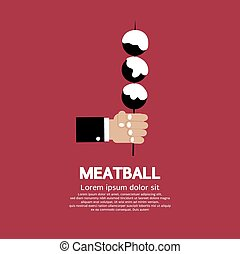 Meatball In Skewer - Meatball In Skewer Illustration