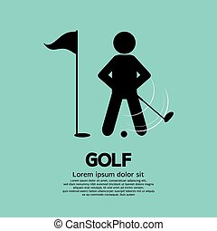 Golf Player - Golf Player Black Symbol Vector Illustration