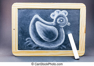 Chalk drawing of a duck