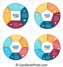 Vector circle infographics set. Template for cycle diagram,...