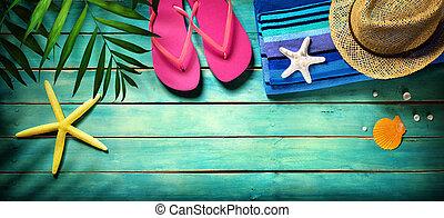 Beach accessories on wooden, summer - Beach accessories on...