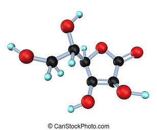 Molecule Vitamin C 3D - 3d illustration looks molecule of...