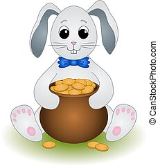 Cartoon Rabbit with Pot of Gold Coins
