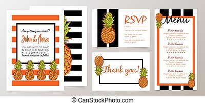 Save the Date, Wedding Invitation Card with Retro Pineapples...