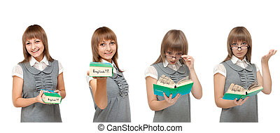 Girl with dictionary English, emotions - Girl with...