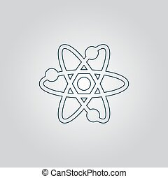 Vector atom icon - atom Flat web icon, sign or button...
