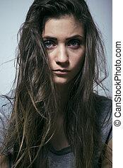 problema, depressioned, adolescente, com, messed, cabelo, e,...