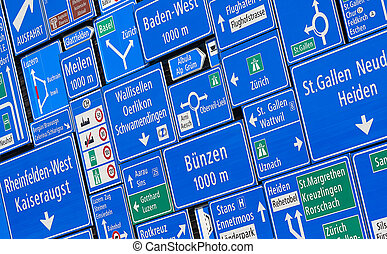 Road signs - Collection of the swiss road signs