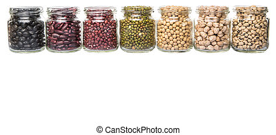 Beans Variety In Mason Jars - Black eye peas, chickpeas,...