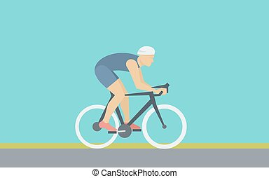 Bicyclist - Cyclist Rides a Bicycle - Simple Illustration in...