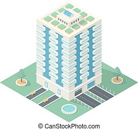 High-Rise Building in Isometric Projection - Ecofriendly...