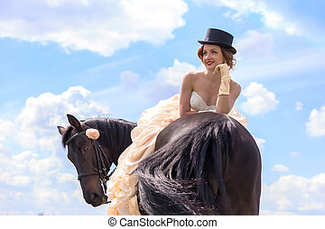 Girl and horse - Beautiful girl in vintage dress and her...
