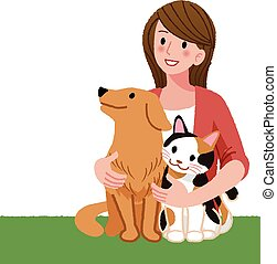 woman looking up with furry friends - A woman tenderly...