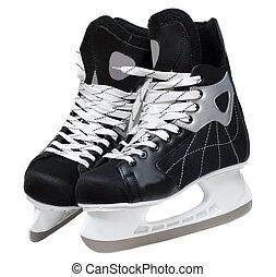 Skates hockey with lace on white background