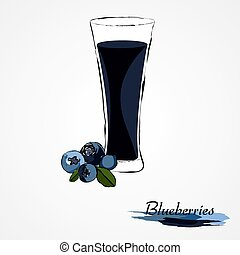 blueberry juice - Hand drawn vector ripe blueberry fruit and...