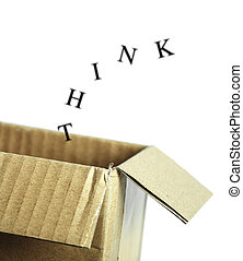 Think outside the box concept isolated on white background