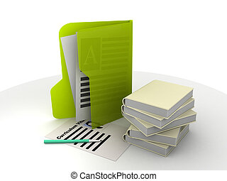 curriculum vitae and books - folders with papers, books and...