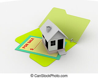 for sale - illustration of a folder with house for sale