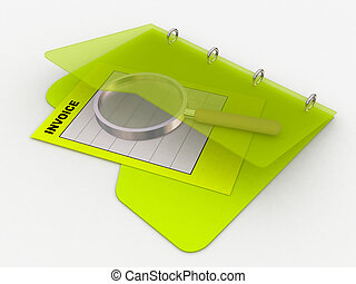 invoice folder - illustration of invoice with a magnifying...