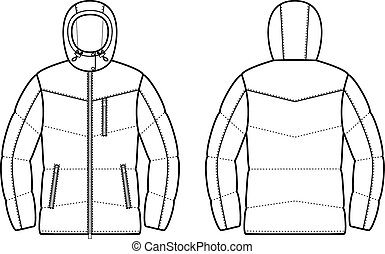 Down jacket - Vector illustration of winter quilted down...