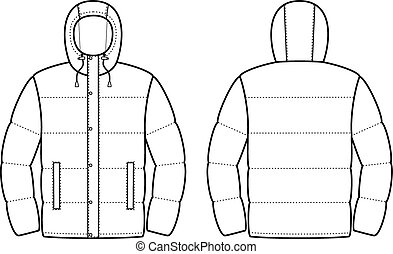 Jacket - Vector illustration of winter jacket. Front and...