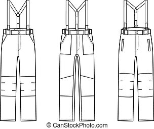 Pants - Vector illustration of work pants with braces...