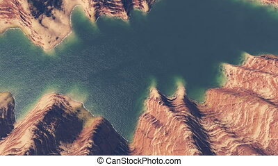 Canyon river aerial view - Aerial view of the blue river in...