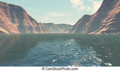 Boating on the canyon river - River level view of absctract...