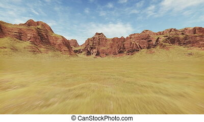 Movement through rocky canyon - Fast movement through...
