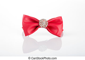 red bow tie with sequins on a white background - Red bow tie...