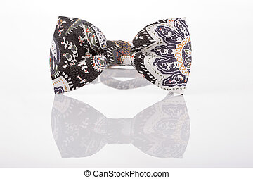 butterfly tie with an abstract pattern on a white background...