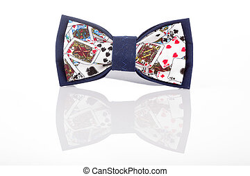 butterfly tie with playing cards on a white background with...