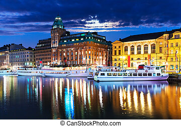 Night scenery of Stockholm, Sweden - Scenic summer night...